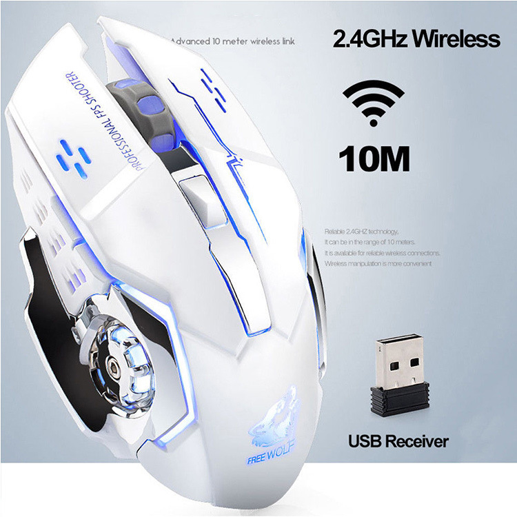 Drop ship Rechargeable Wireless Silent LED Backlit USB Optical Ergonomic Gaming Mouse LOL Gaming Mouse Surfing Wireless Mouse 1