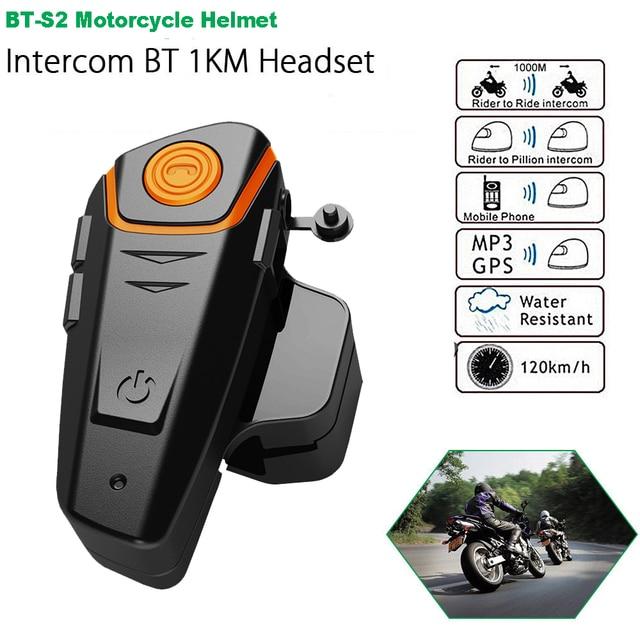 BT-S2 Pro Motorcycle Intercom Helmet Headset Wireless 1000M Bluetooth Waterproof Interphone Intercomunicador Moto FM 3 Riders