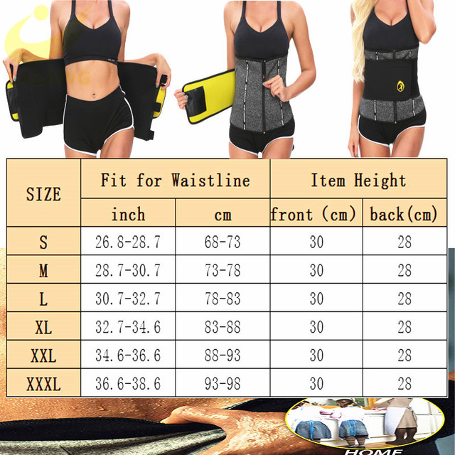 LAZAWG Waist Trainer Thermo Sweat Belt Weight Loss Girdle Corset Women Tummy Body Shaper Fat Burning 3 Ways Firm Control Waist 5