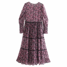 Women Floral Printing Chiffon Tiered Ruffle Midi Dress Female O Neck Puff Sleeve Loose Clothes Casual Lady Vestido D6695
