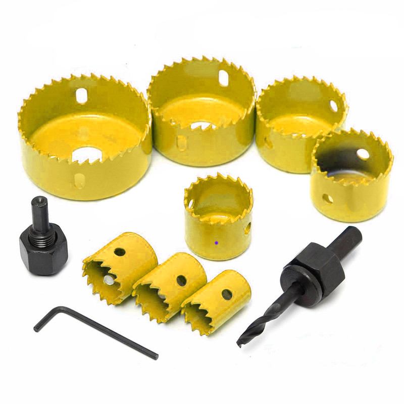 11pc/Set Carbon Steel Hole Saws Drill Bit Wood Sheet Metal Cutting Tool Kit With Box For Carpentry Home Garden Supplies