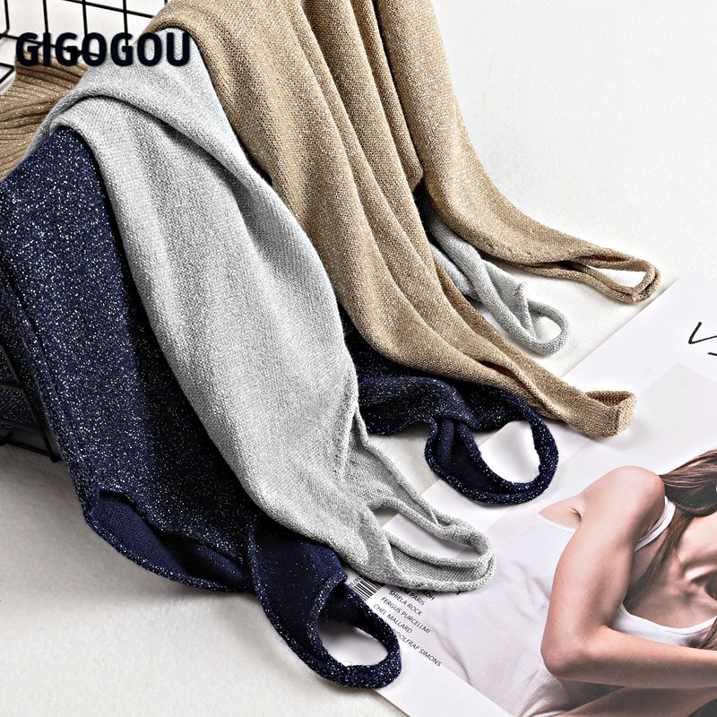 Женский трикотажный топ GIGOGOU, летний топ с люрексом и блестками размера плюс M-2XL, модный сексуальный женский укороченный топ