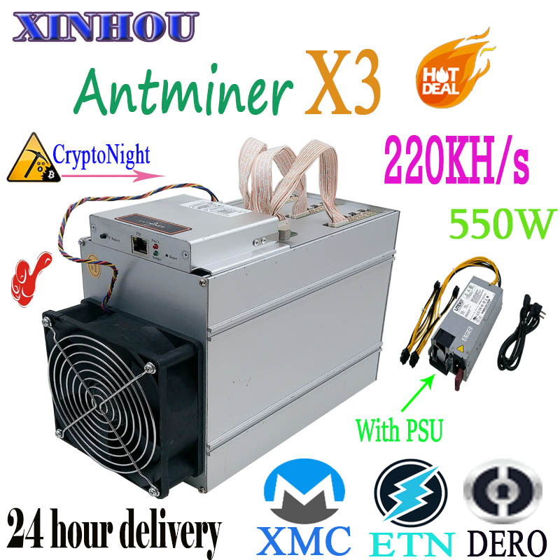 Used ASIC Miner AntMiner X3 220KH/s CryptoNight XMC ETN DERO Miner More Economical Than S9 S17 S17e T17 T17e M3 M20S M21S T2T T3