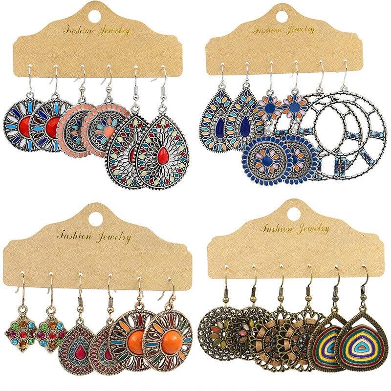 Boho Multicolor Drop Earrings set for Woman Wedding Vintage Geometry Big Round Hollow Flower Crystal Hanging Earrings Jewelry