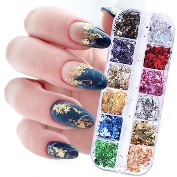 12Grid Gold Foils Gorgeous Nails Glitter Flakes Paillette Chip Aluminum Nail Design Shinny Nail Art Decoration Accessories GL950