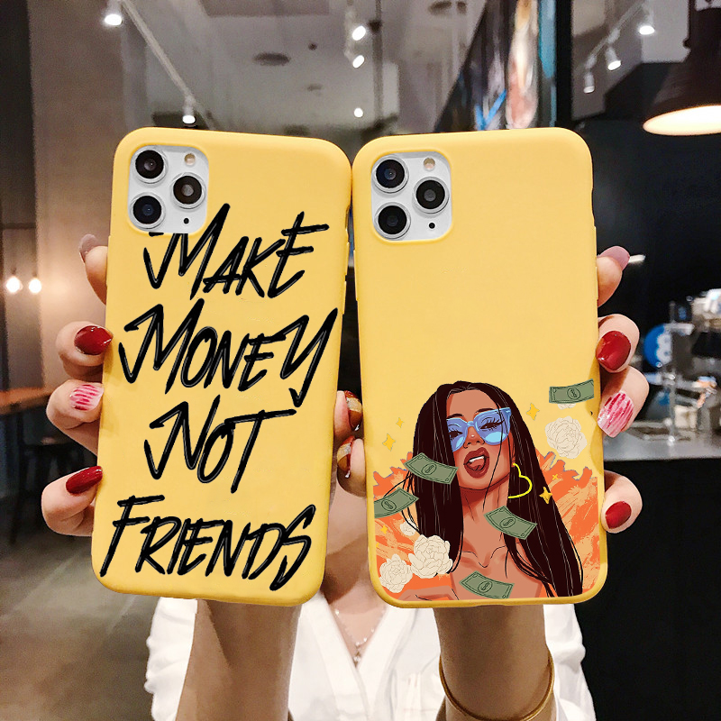 MAKE MONEY Not Friends Kash Afro Black Girl Fundas <font><b>phone</b></font> <font><b>case</b></font> for <font><b>iPhone</b></font> X XR XS Max 8 7 <font><b>6s</b></font> Plus Matte Candy <font><b>Yellow</b></font> Silicone image