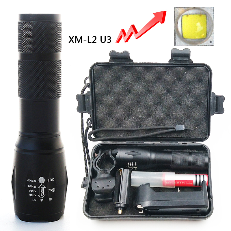 Litwod Z25A100 Cree XM-L2 U3 Led Flashlight Torch Lamp 6000LM Aluminum Waterproof Zoom Led Portable Light For Camping Hunting