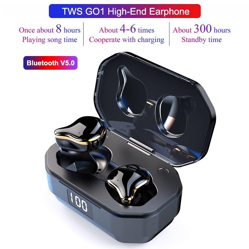 G01 TWS Binaural 5.0 Bluetooth casque sans fil tactile écouteurs étanche stéréo lourd écouteurs Sport casque avec micro