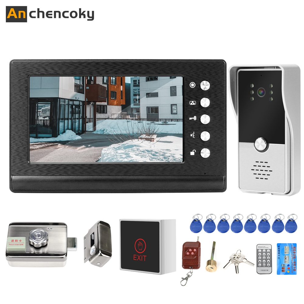 Anchencoky Wired Video Door Phone With Lock Door Intercom Systems Support Wireless Remote Control Unlock For Home Phone Intercom