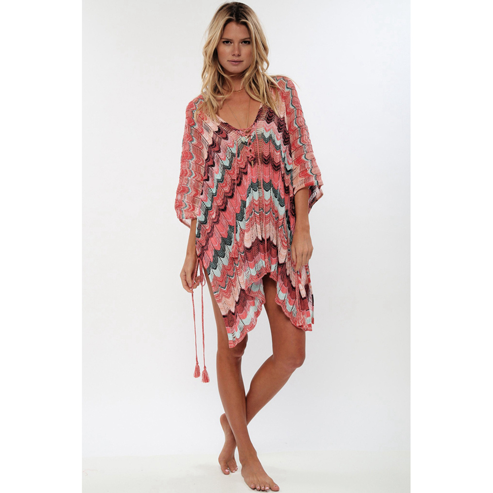Sexy Beach Tunic Deep V Mesh Mini Dresses Knitted Cover Up 13