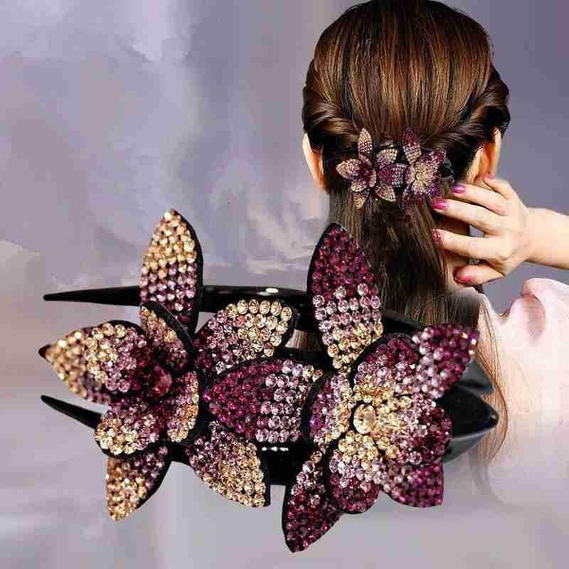 Rhinestone Double Flower Hair Clip Hair Crystal Hair Combs Female Elegant Beads Hairgrip Handmade Fashion Hair Accessories Tools