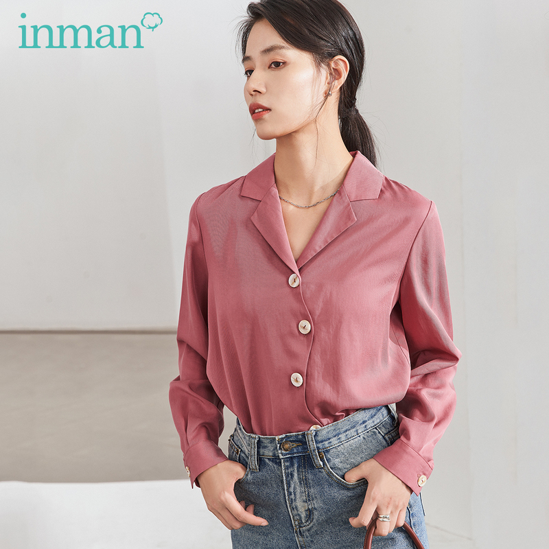 INMAN 2020 Spring New Arrival Literary Personality Lapel Lyocell Puer Color Button Loose Long Sleeve Blouse