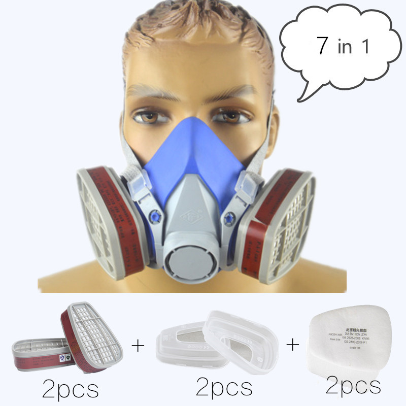 7 In 1 Industrial Gas Mask Respirator Silicone Mask 6001 Carbon Filter Work As 6200 Electrostatic Filter Painting Pesticide