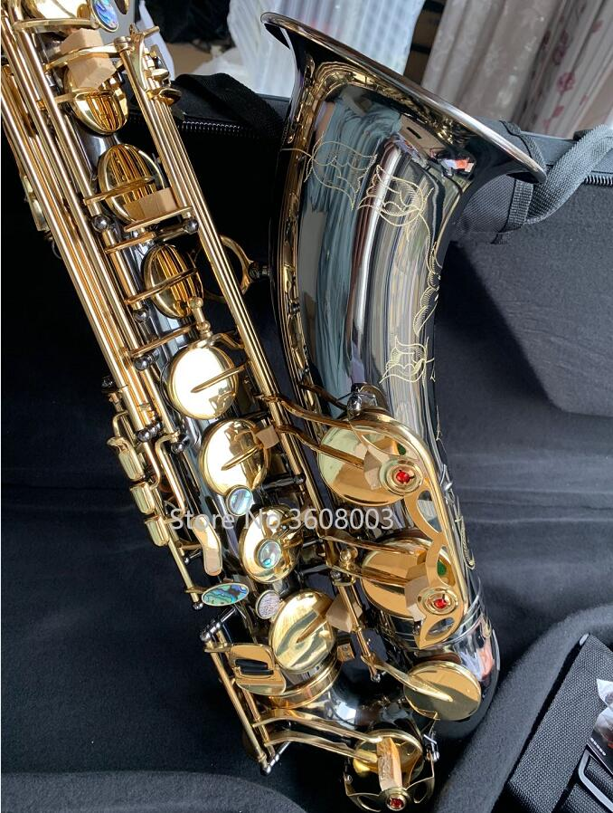 Custom Tenor Saxophone Instrument New B Flat Tenor Sax Wind / Tube Black Nickel Gold Key Saxophone