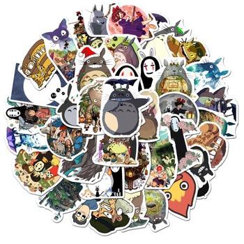 50pcs/Pack Miyazaki Hayao Cartoon Sticker My Neighbor Totoro/Spirited Away for Skateboard Phone Laptop Bicycle Waterproof Decals hayao miyazaki anime my neighbor totoro bead bracelet hand chain 925 sterling silver beautiful desigh for girl party 2 size