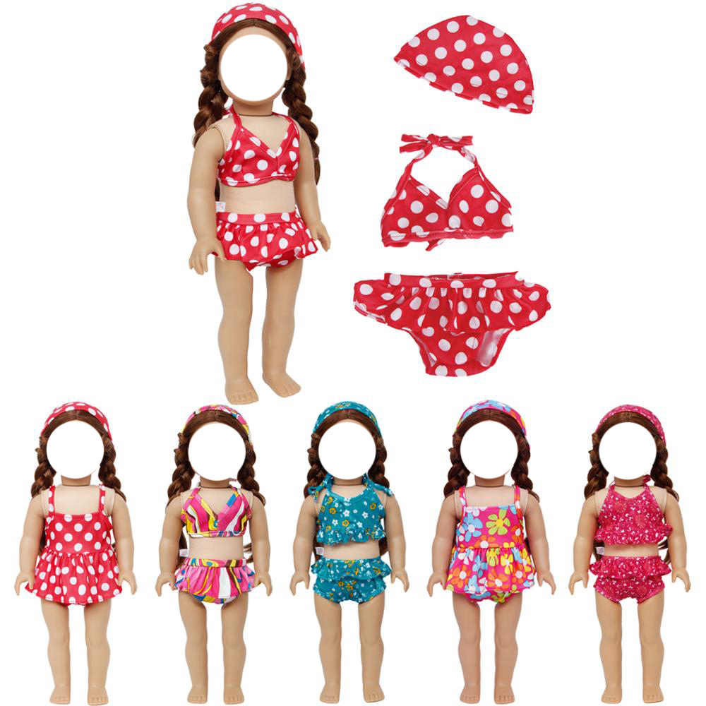 For 18-inch American Girl Swimsuit swimming cap set Handmade Doll Clothes
