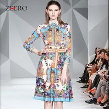 Luxury Autumn Women Animal Print Long Sleeve Belted Slim Mid