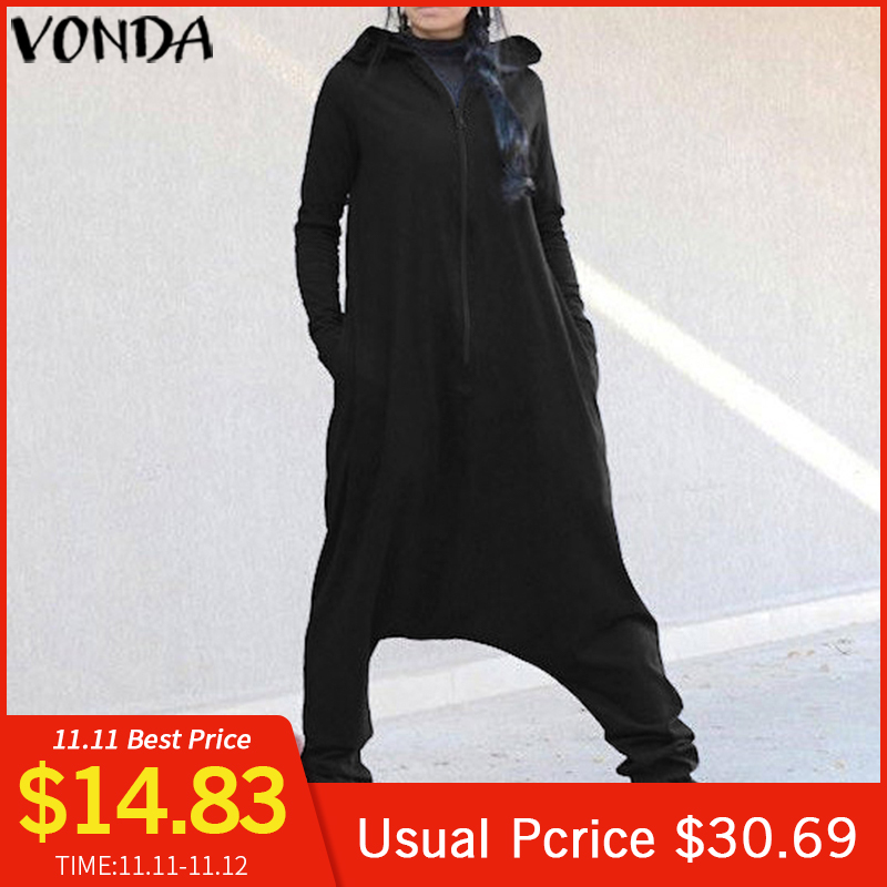 Plus Size Rompers Womens Jumpsuit VONDA Female Hooded Drop Crotch Jumpsuits Romper Casual Long Sleeve Harem Pants Trousers
