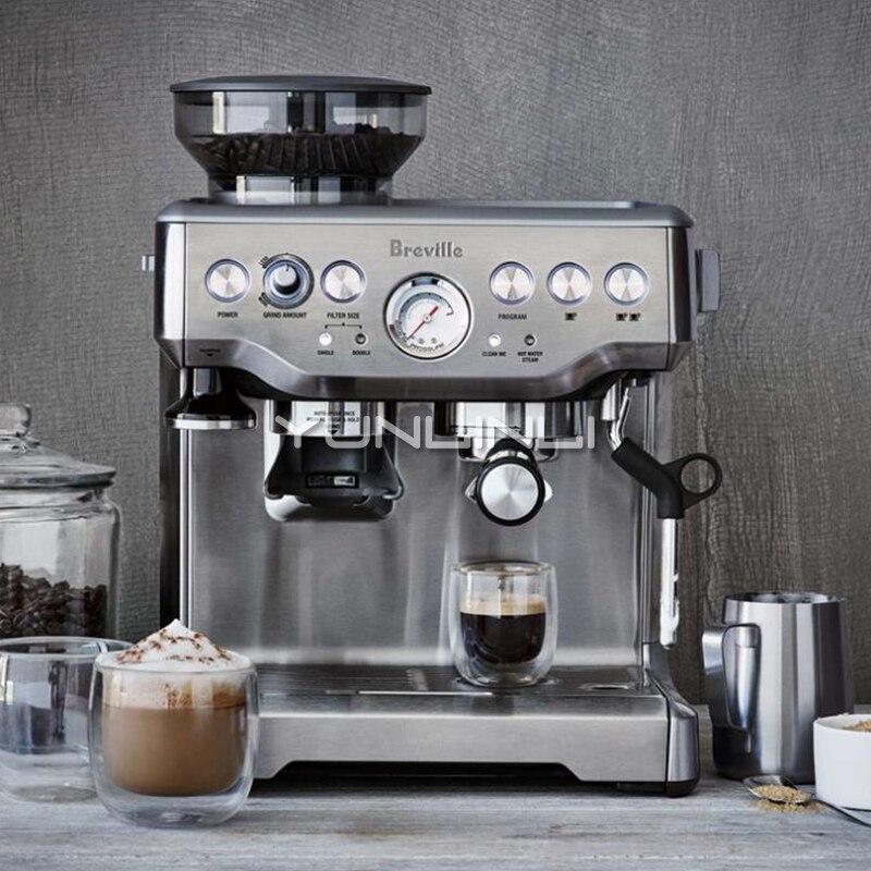 Espresso Coffee Maker Grind Beans Semiautomatic 15Bar Grinder Steam Coffe Machine 5