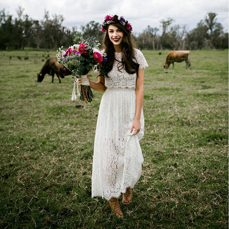 RomanticTwo Piece Wedding Dress With Sleeves Lace Boho Round Neck Ankle Length Bohemian Hippie Short Bride Dress For Women 2019
