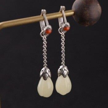 FNJ Tassel Jade Earrings 925 Silver Original Pure S925 Sterling Silver Drop Earring for Women Jewelry Red Agate