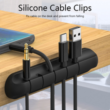 Holder Organizer Cable-Clip Desktop-Charger Headphone-Wire-Storage Black Silicone 1PC