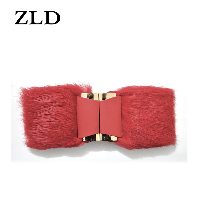 ZLD Rabbit Fur Belt Fashion Wide Belt Wild Cintos Femininos Belt Metal Dress Belt Ladies Coat Windbreaker Elastic Wide Belt