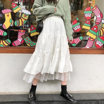 2020 jesienne i zimowe damskie Boho długie spódnice wysokiej talii Ruffles białe spódnice plażowe różowy Jupe Femme spódnica z tiulu Saia Midi Faldas tanie i dobre opinie poberlagals COTTON Mesh CN (pochodzenie) A-LINE Koronki l160 empire Stałe Na co dzień Połowy łydki