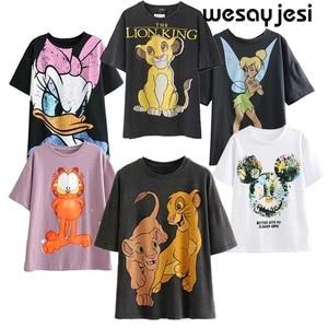 2020 summer fashion t shirt women harajuku high streetwear cartoon angel print 100% cotton o-neck loose tshirt tops plus size
