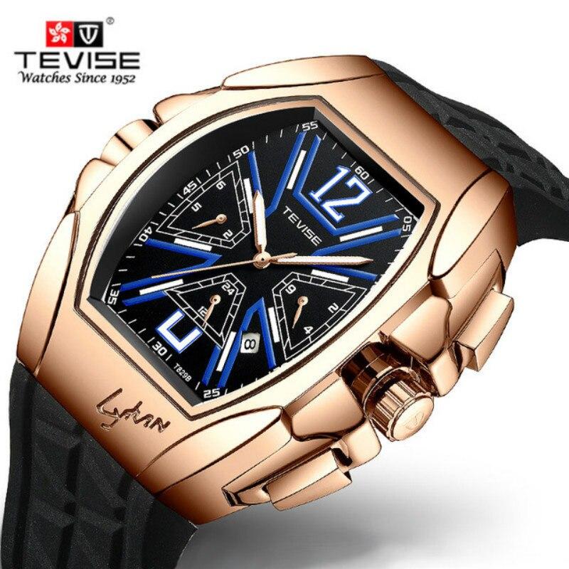 Tevise Top Brand Luxury Automatic Mechanical Men Watches Fashion Self-Winding Tourbillon Multi-function Waterproof Wristwatch