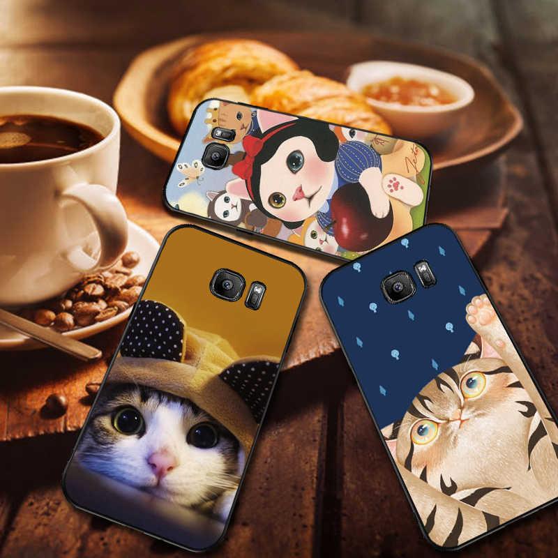 بارد القط لينة سيليكون الهاتف حقيبة لهاتف سامسونج A3 4 5 6 زائد 7 8 910 20 30 40 50 60 70 2018 M40 J6 كوكه