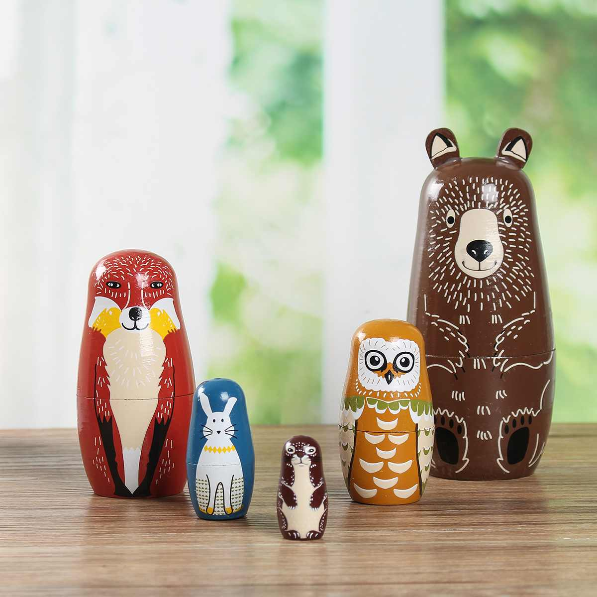 5 Wooden Russian Hand Painted Animal Bear Nesting Dolls  Unique Children Adults Toys Matryoshka Toy Decor Kid Gift