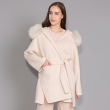 Кашемировая Женская куртка со съемным воротником из лисьего меха, шерстяное Смешанное пальто и куртка с поясом, женское осенне зимнее кашемировое пальто