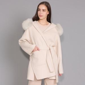 Image 1 - Kaşmir ceket kadınlar ayrılabilir tilki kürk yaka yün karışımı ceket ve ceket kemer bayanlar sonbahar kış kaşmir palto