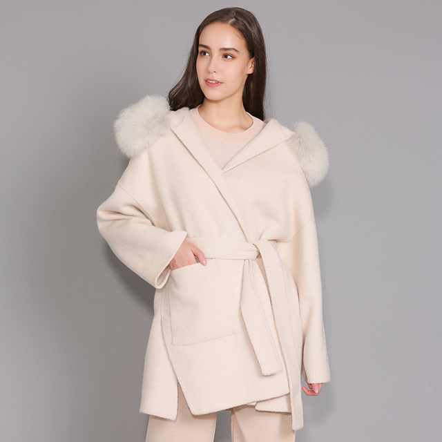Kaşmir ceket kadınlar ayrılabilir tilki kürk yaka yün karışımı ceket ve ceket kemer bayanlar sonbahar kış kaşmir palto