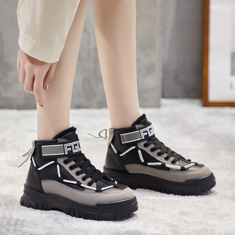 Женские ботильоны из искусственной кожи Fujin, черные ботинки на платформе с застежкой липучкой, зимние теплые ботинки на плоской подошве, новинка 2020|Полусапожки| | АлиЭкспресс