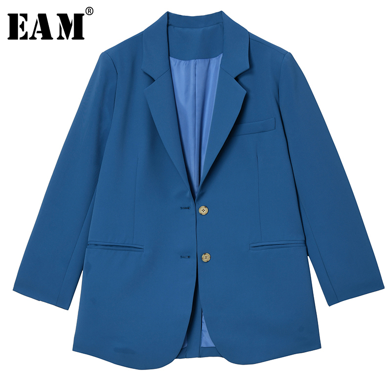 [EAM]  Women Blue Brief Temperament Big Size Blazer New Lapel Long Sleeve Loose Fit  Jacket Fashion Spring Autumn 2020 1T283
