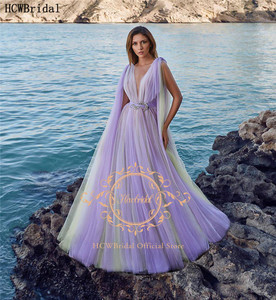 Lavender Tulle Plus Size Evening Dress V Neck Corset Pregnant Women Prom Gown Long Formal Occasion Party Dresses Robe Soiree
