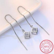 Женские серьги подвески из серебра 925 пробы с цирконием