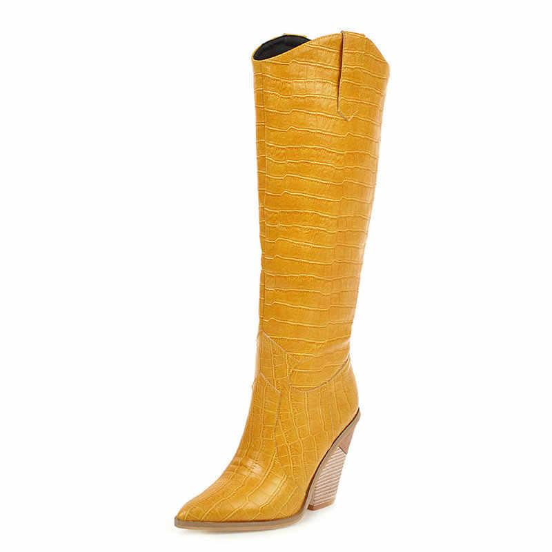 Suni deri sivri burun uzun çizmeler bayanlar sarı siyah kırmızı beyaz kadın kovboy şapkası çizmeler kama topuk batı diz çizmeler kadın