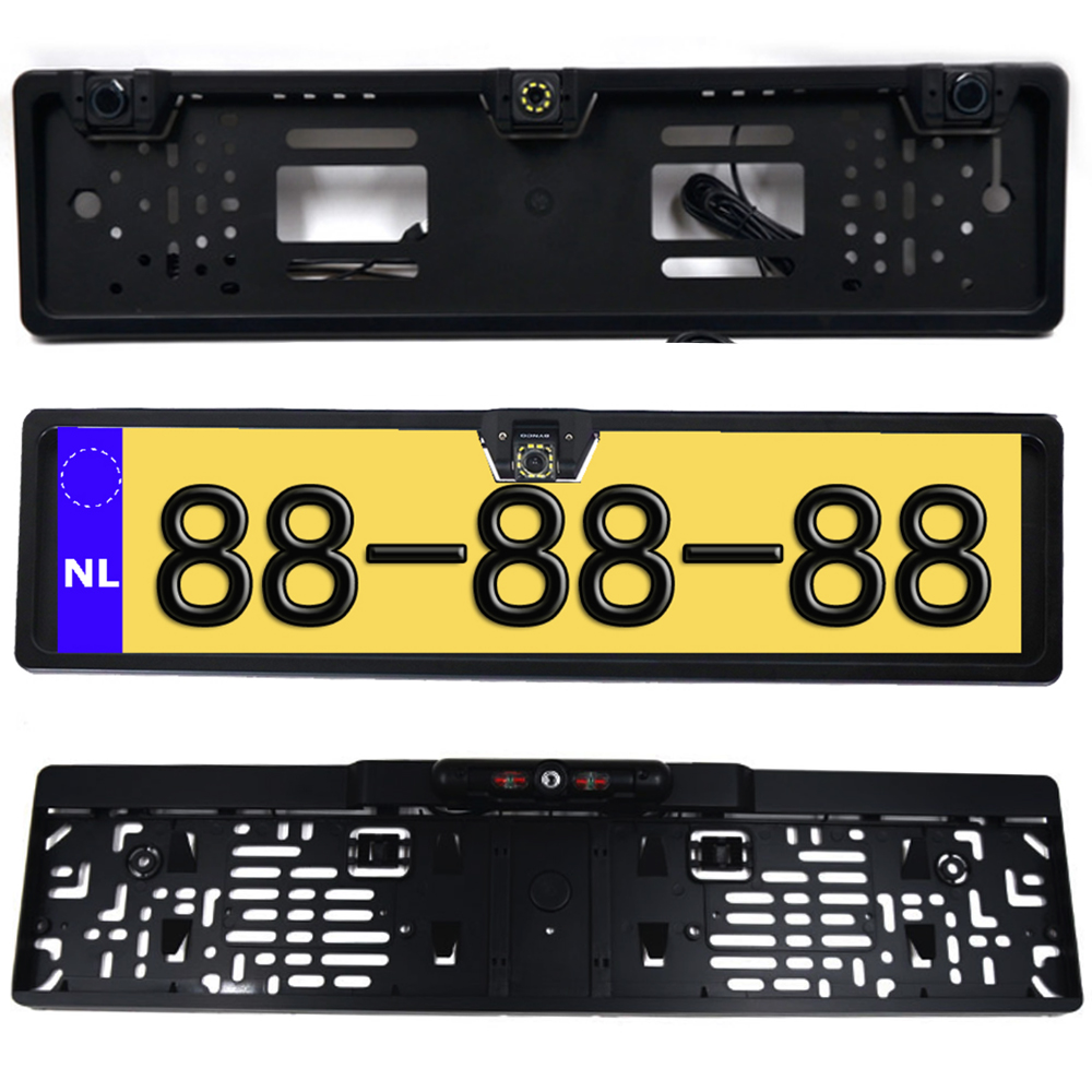 EU European License Plate Frame Car Rear View Camera Waterproof Night Vision Reverse Backup Camera NO LED Light Only Camera