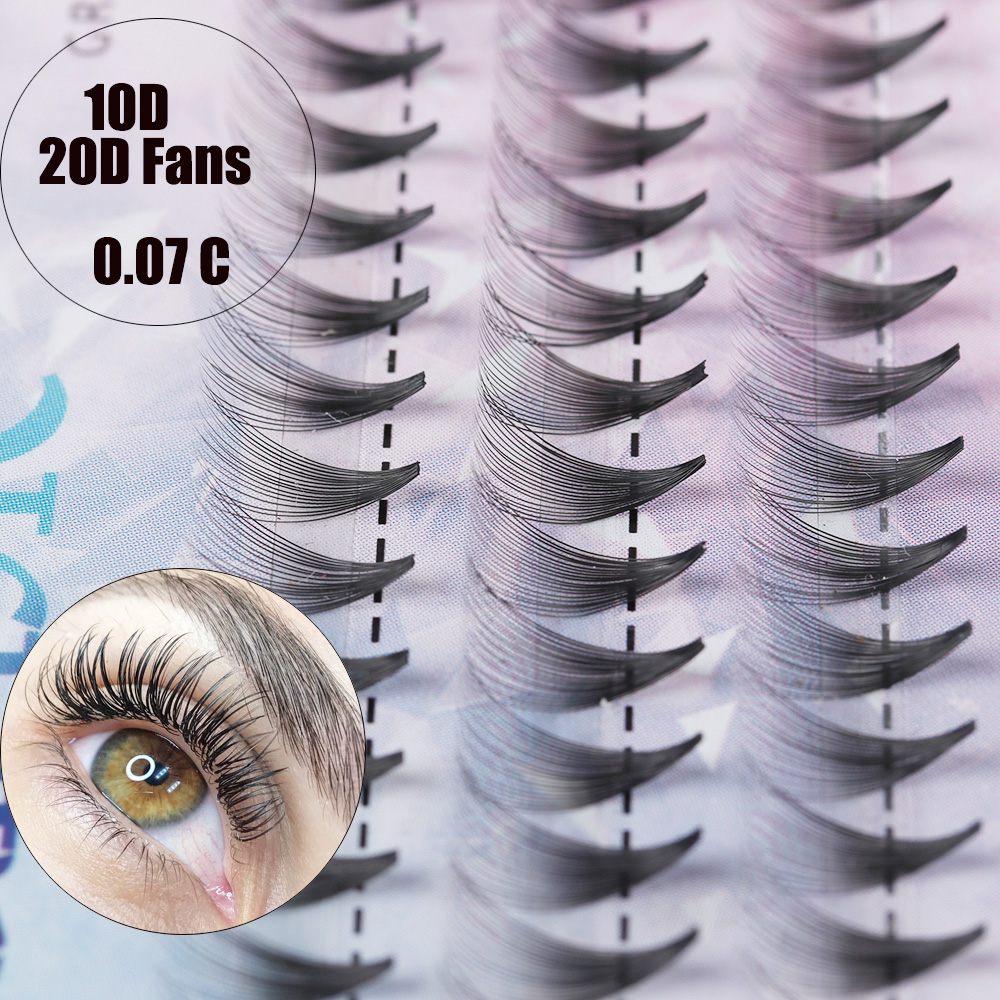 Individual 10D/20D Semi-permanent Premade Volume Fan False Eyelashes C Curl Knotted/Knot Free Eyelashes Extension Natural Long