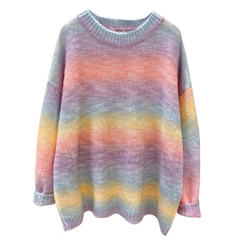 Autumn Winter Women Rainbow Sweater and Pullovers O Neck Long Loose Style Striped Korean Jumpers Candy Color Oversized Pull women oversized sweater and pullovers oneck sweet heart letters printed pull jumpers long sleeve pink streetwear knit tops