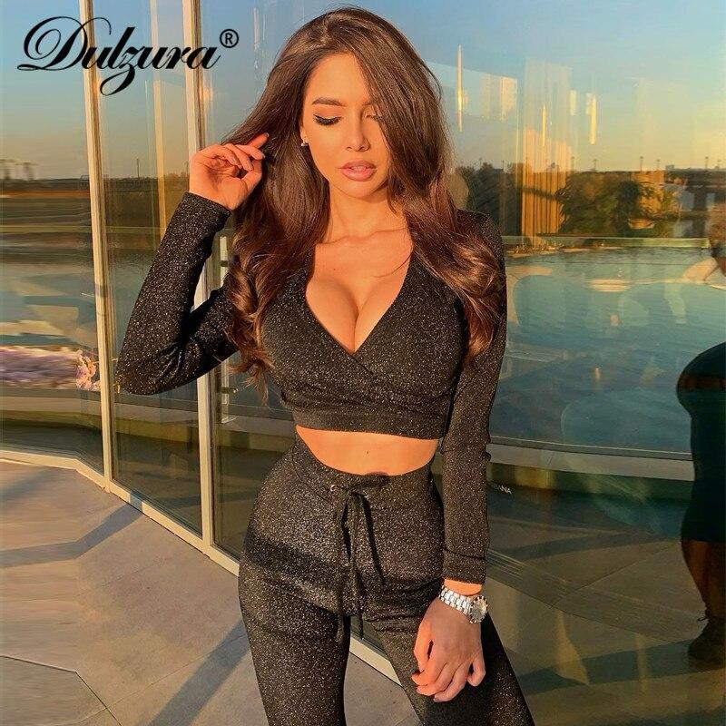 Dulzura Glitter Bling Women 2 Piece Set Crop Top Sweatpants Outfit Activewear Streetwear 2019 Autumn Winter Clothes Tracksuit