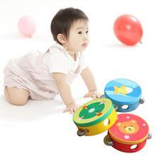 Kinderen Muziekinstrument Handbells Baby Drum Hand Bells Kids Muziek Geluid Speelgoed Cartoon Primt Educatief Speelgoed Baby Houten Bells