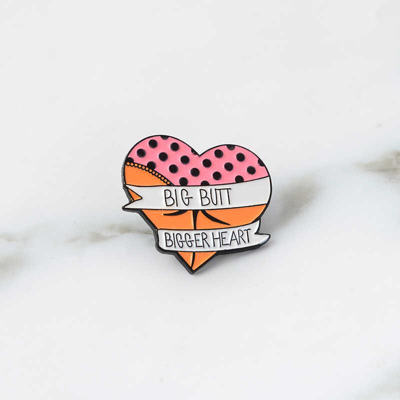 Pantat dan Jantung Pin Bros Keras Enamel Kerah Pin Ransel Jaket Tas Aksesoris untuk Pria Womn Lucu Pin