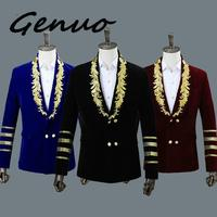 Genuo New Men's Shawl Collar Royal Blue Suede Embroidery Loose Suit Jacket Stage Show Singer Double breasted Men Blazer Designs