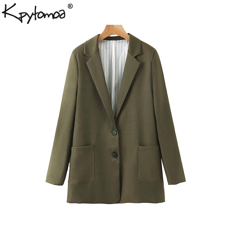 Vintage Stylish Office Wear Basic Solid Blazer Coat Women 2019 Fashion Notched Collar Long Sleeve Pockets Outerwear Chic Tops