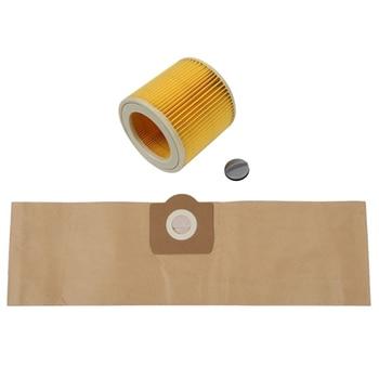 Karcher 5Pcs Dust Bag 1Pcs Filter for KARCHER WD3 Premium WD 3,300 M WD 3,200 WD3.500 P 6,959-130 Vacuum Cleaner 2019 gray washable vacuum cleaner filter dust bag for lg v 2800rh v 943har v 2800rh v 2810