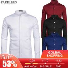 White Banded Collar Dress Shirt Men Slim Fit Long Sleeve Casual Button Down Shirts Mens Business Office Work Chemise Homme S 2XL